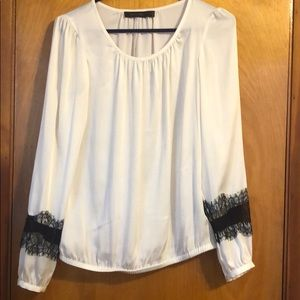 Silky Limited Off White Blouse with Lace Detail